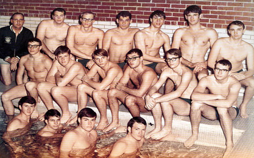 Swimming was a popular sport in the 1960s and early 1970s.  Featured is the 1969-1970 Swim Team, coached by Lewis Dyche.