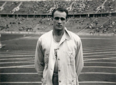 Student Herschel Neil competed in the Olympic Trials for the Summer Olympics in 1936.  Herschel is pictured in the Olympic Stadium in Germany, prior to World War II.