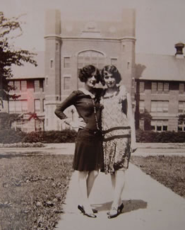 Violet Pauline Smith Biffle, on the right, with Mary Summers in front of the 管理 Building.  Pauline was one of many young women to receive a teaching certificate from Northwest in 1929.