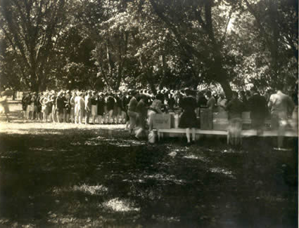 Students enjoy a Walk-Out Day picnic.  The First Walk-Out Day took place on Oct. 22, 1914 and became an annual tradition.