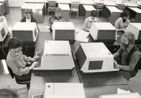 Dr. David Bahnemann, a Math/Computer Science professor, teaches one of the first classes for students desiring a Computer Science degree at Northwest.