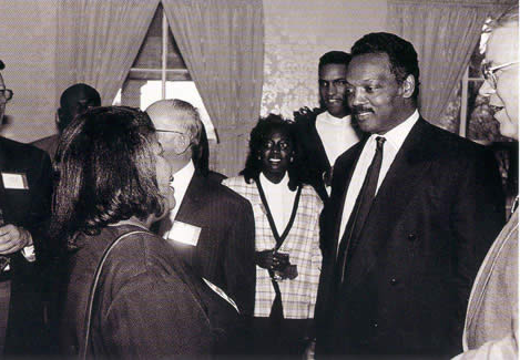 The Reverend Jesse Jackson visited campus on March 15, 1995 as part of Northwest's 尊贵系列讲座.