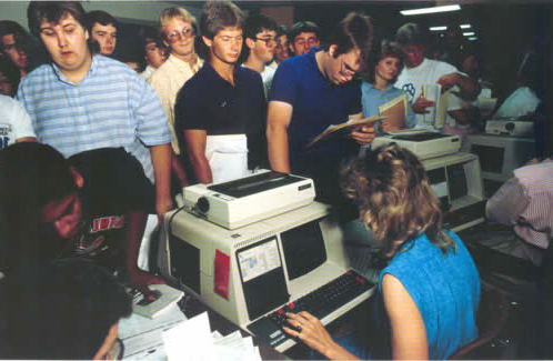 Registering for classes for fall 1987 still involved standing in long lines, but the pull-card system of past decades was gone. In 1991, students started the online self-enrollment process.