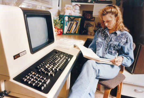 Beginning in 1987, every residence hall room was equipped with a terminal networked to a common server that provided access to an online library catalog, word processing and email.