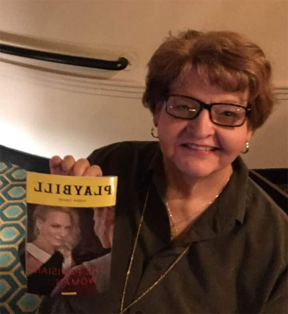 Janet Stuck Jelavich holds a playbill while attending a show. Jelavich, a 1977 Northwest graduate who died last year, was passionate about theatre. Her husband, Mark, a retired Northwest faculty member, recently established the Janet (Stuck) Jelavich Scholarship in her memory. (Submitted photo)