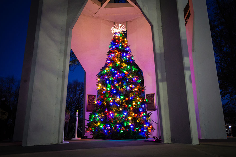 The Northwest community gathered Tuesday for the annual Holiday Tree Lighting ceremony, which took place this year at the Memorial Bell Tower. (Photos by Brandon Bland/Northwest Missouri State University)