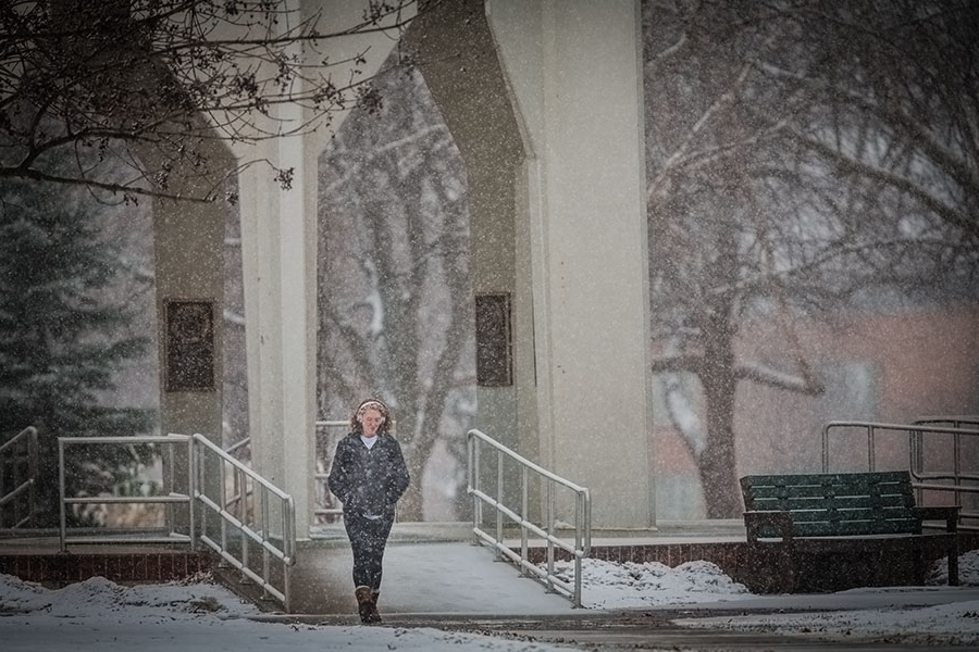 pictured above, snow showered the grounds around the memorial bell tower last february. with the onset of colder temperatures and winter months, northwest reminds its campus community to take precautions for winter weather. (northwest missouri state university photo)